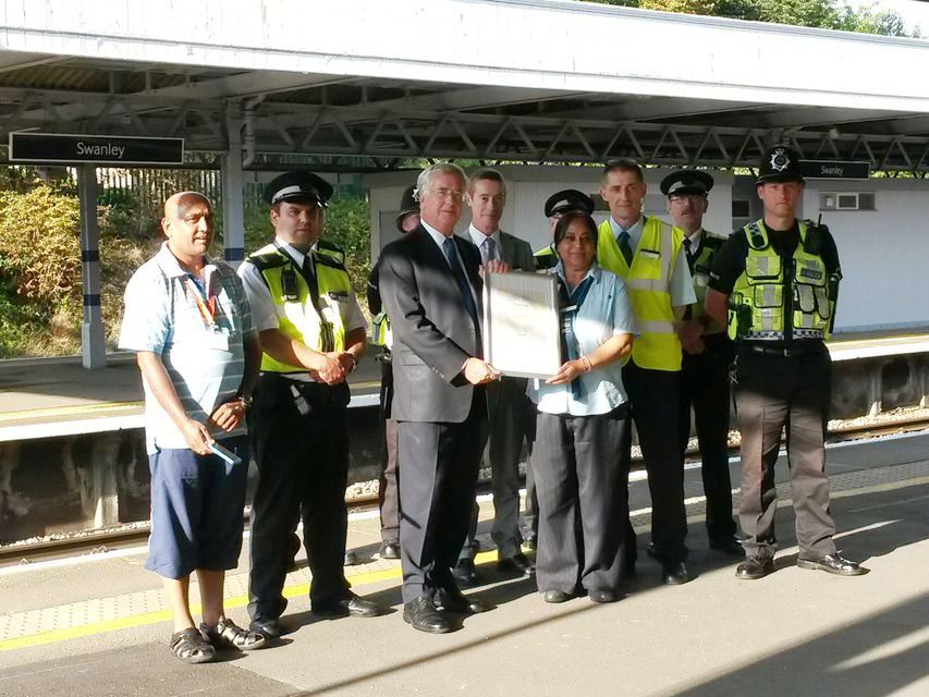 Presenting a Secure Station Award to Southeastern staff at Swanley Station