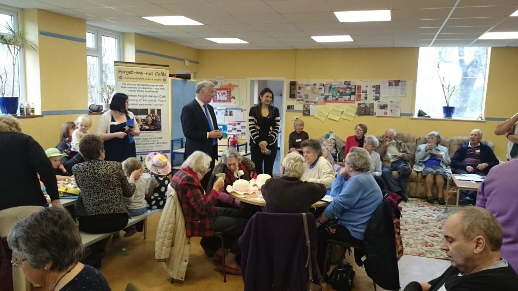 Speaking to dementia sufferers and carers at the Forget-me-not Cafe in Westerham.