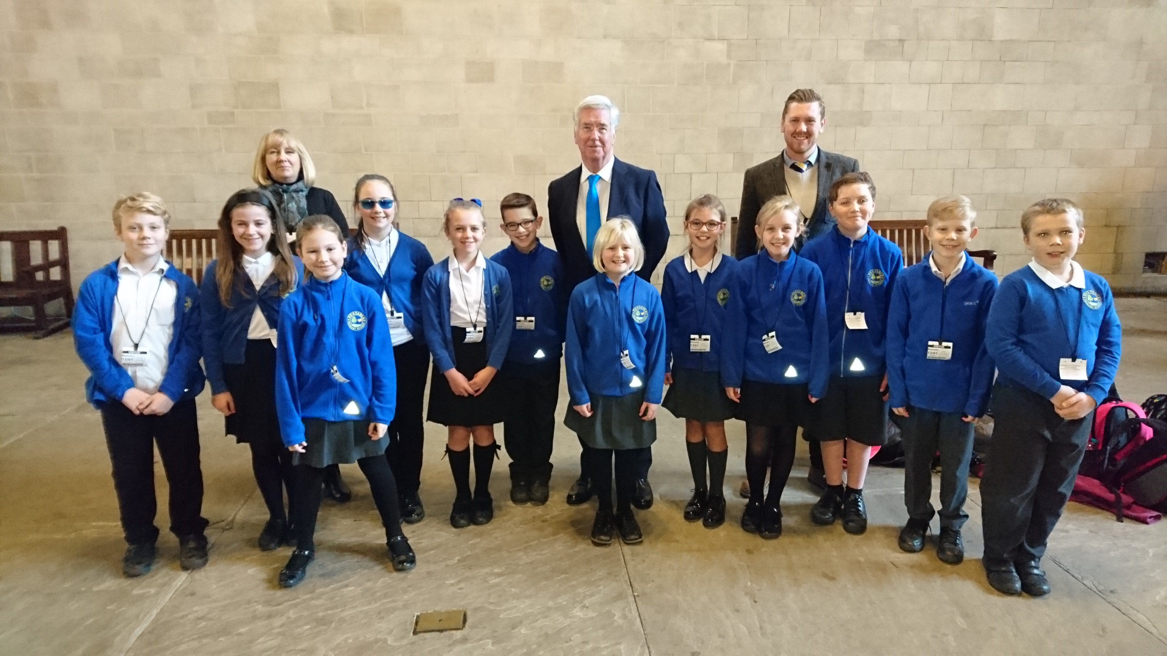 Michael welcoming pupils from Hextable Primary School to Parliament.