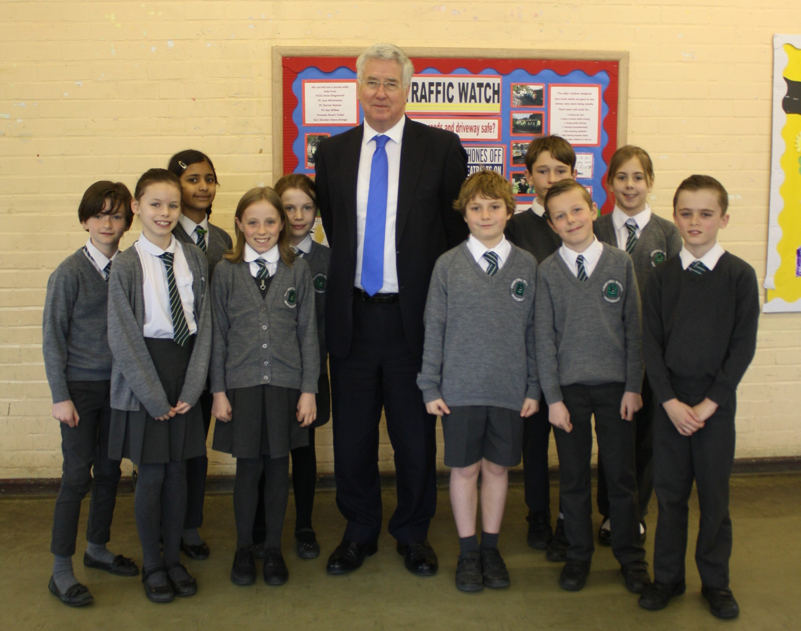 Meeting pupils at Churchill Primary School in Westerham.
