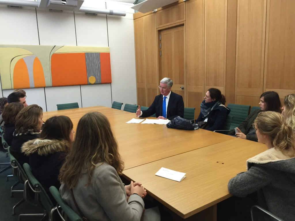 Answering questions from Sevenoaks School's exchange pupils.