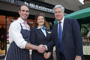 Master Butcher Robert Martin with Barclays Business Manager Wendy Stevens and Michael