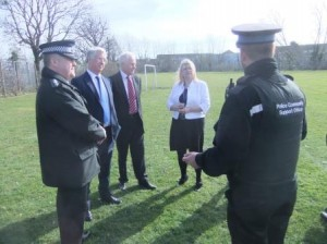Meeting Cllr Tony Searles,  and Mrs McGarrigle, Headteacher with local police officers