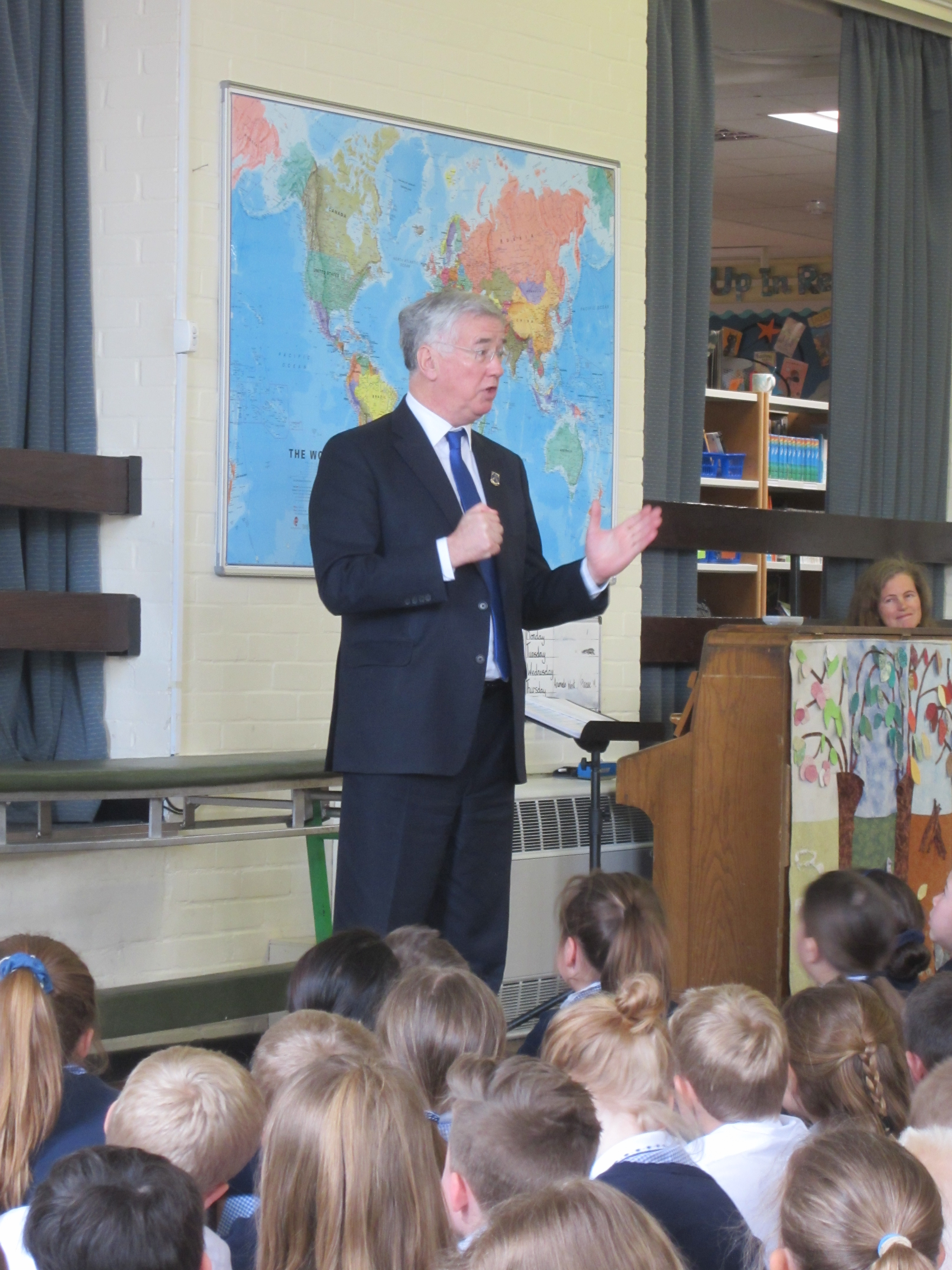 Michael speaking to pupils at Amherst School.