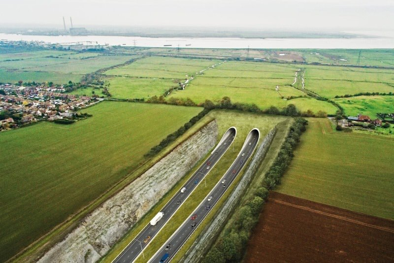The potential tunnel approach in Kent (Highways England, OGL)