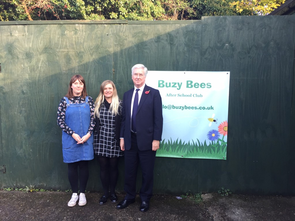 Michael with Vicky and Somerset, Manager and Deputy Manager at Buzy Bees.