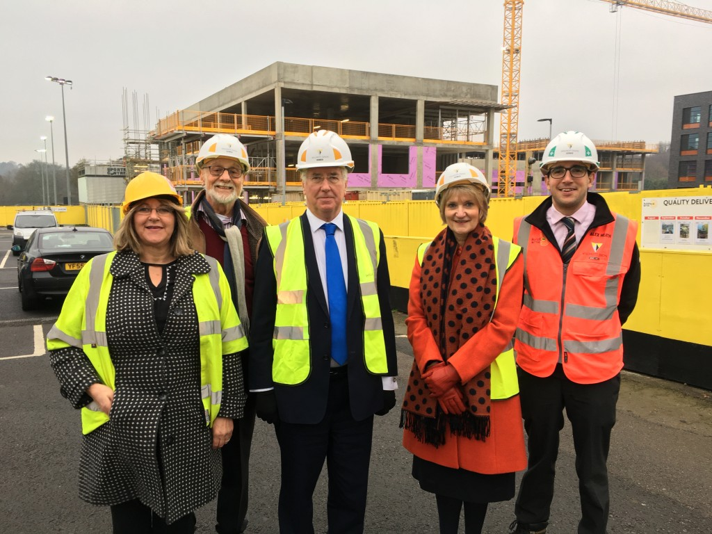 Michael with KCC Project Manager Esther Larner, Weald of Kent Chair of Governors David Bower, Weald of Kent Headteacher Maureen Johnson, and Willmott Dixon Build Manager Alex Heath