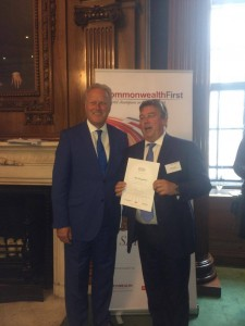 Lord Marland (left) and Nicholas Wrigley, CEO of Winch Energy, with his certificate
