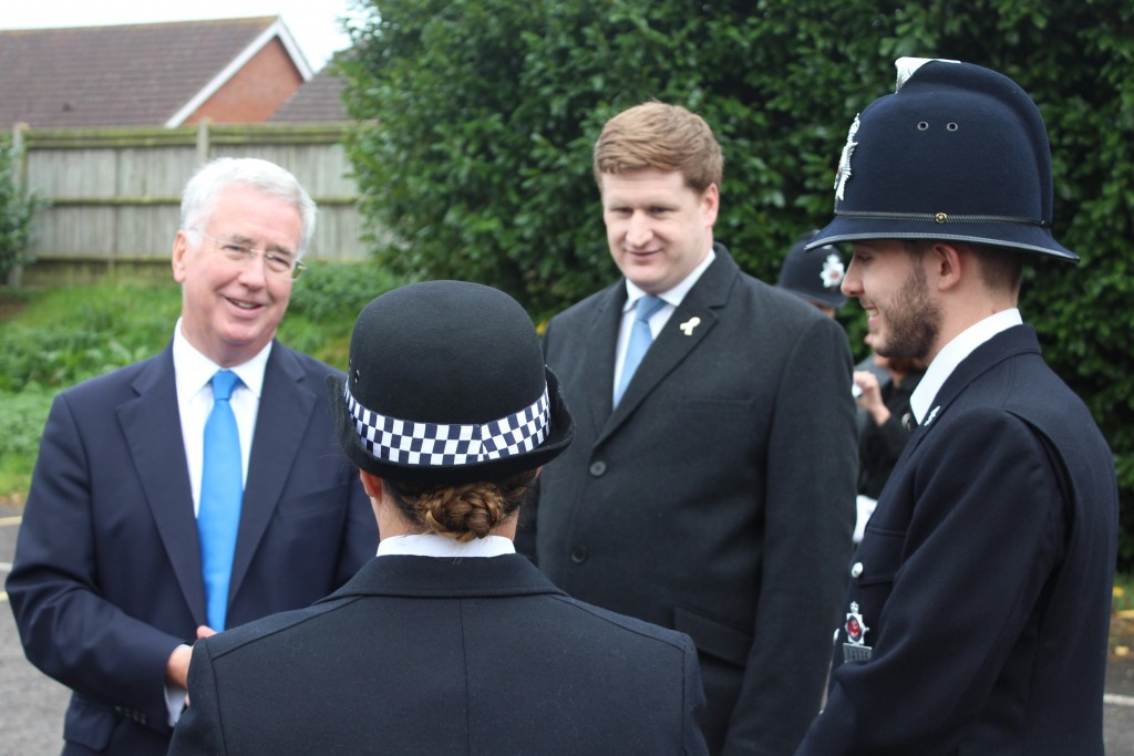 Michael (left) and PCC Scott (right) Speaking with PC Zoe Hill