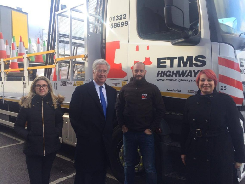 Michael with Martin, owner of ETMS, and Toni (right) of Swanley Town Council