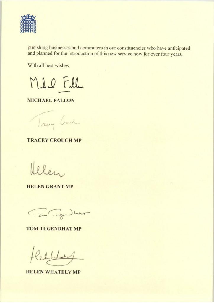 Kent MPs Letter to Rail Minister on Postponed Thameslink Fast Service 12 Jan 18-2