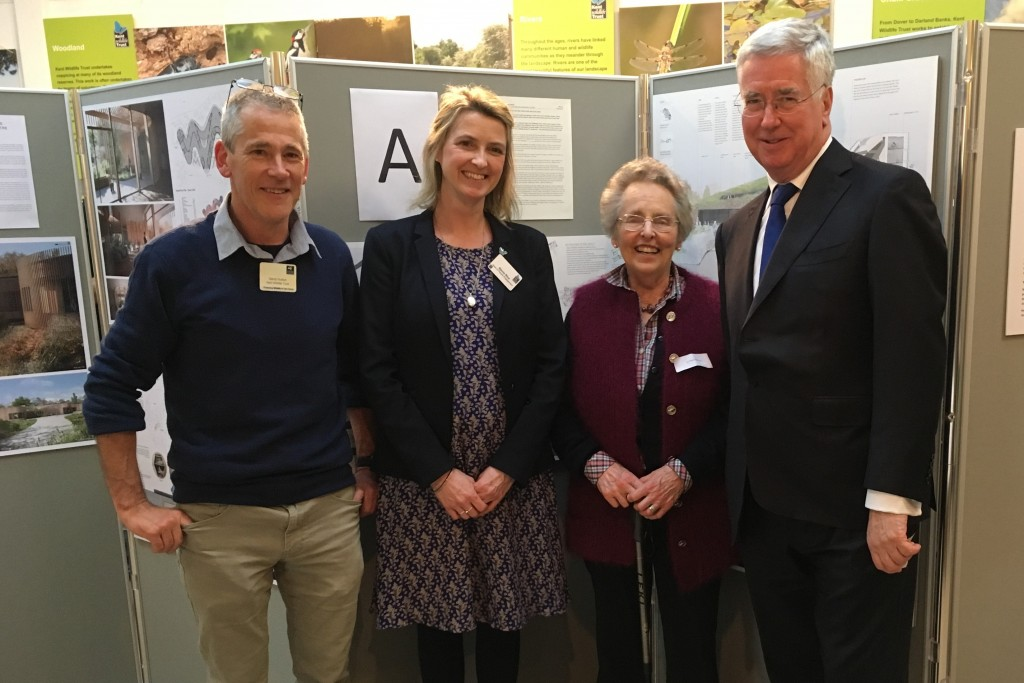Dave Hutton and Stevie Rice from Kent Wildlife Trust with Dr Pamela Harrison and Michael at the Jeffery Harrison Visitor Centre, Bradbourne Vale Road, Sevenoaks, TN13 3DH