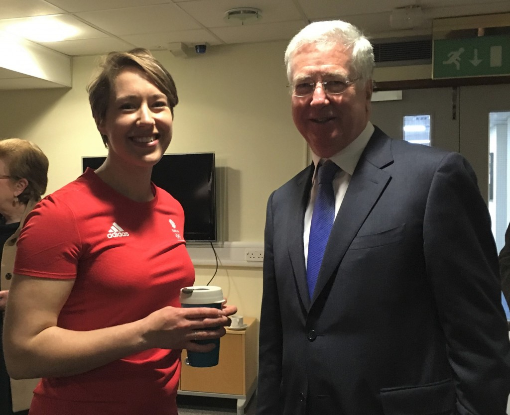 Lizzie Yarnold with Michael at SDC offices