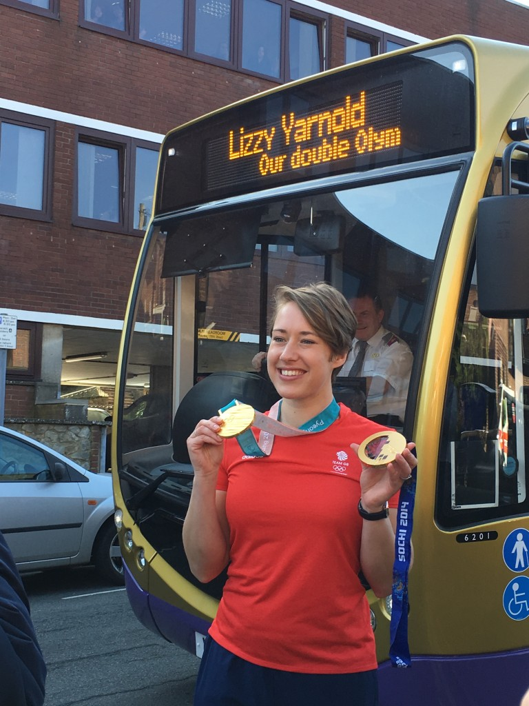 Lizzie with her 2 gold medals