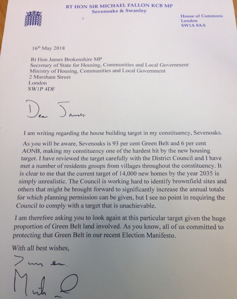 Letter to Housing Minister, James Brokenshire