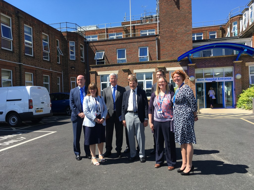Michael outside Sevenoaks Hospital with staff