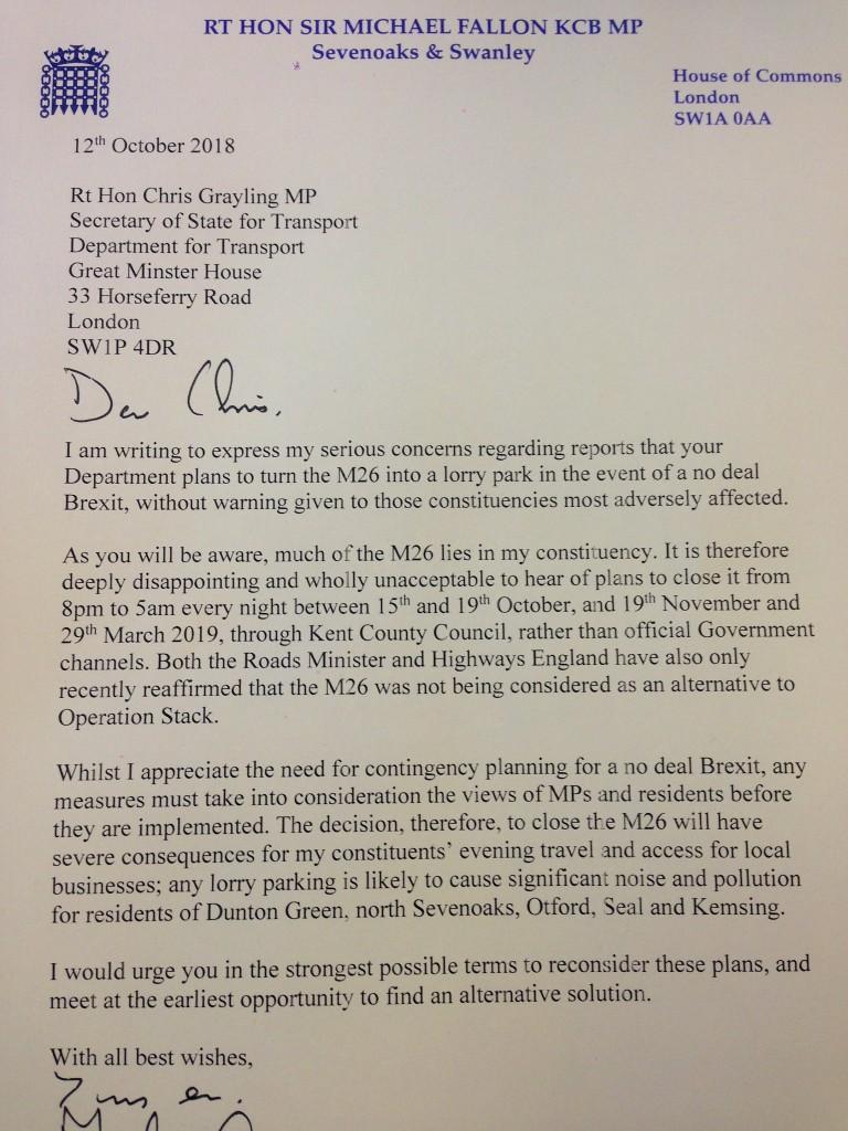 Letter to Transport Secretary