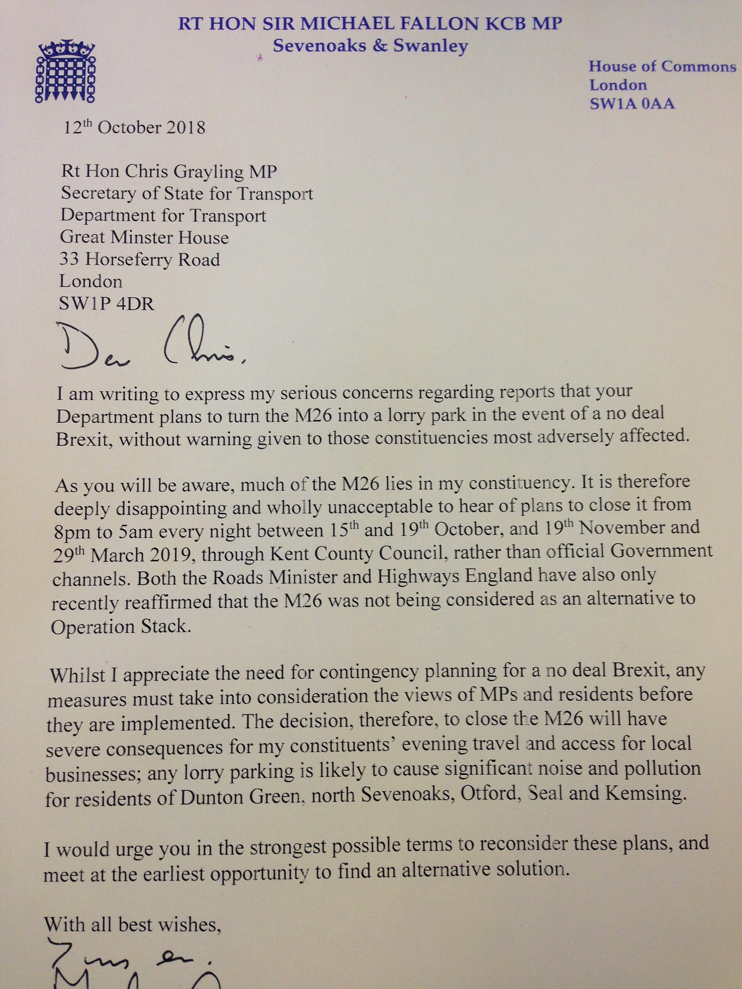 Letter to Transport Secretary