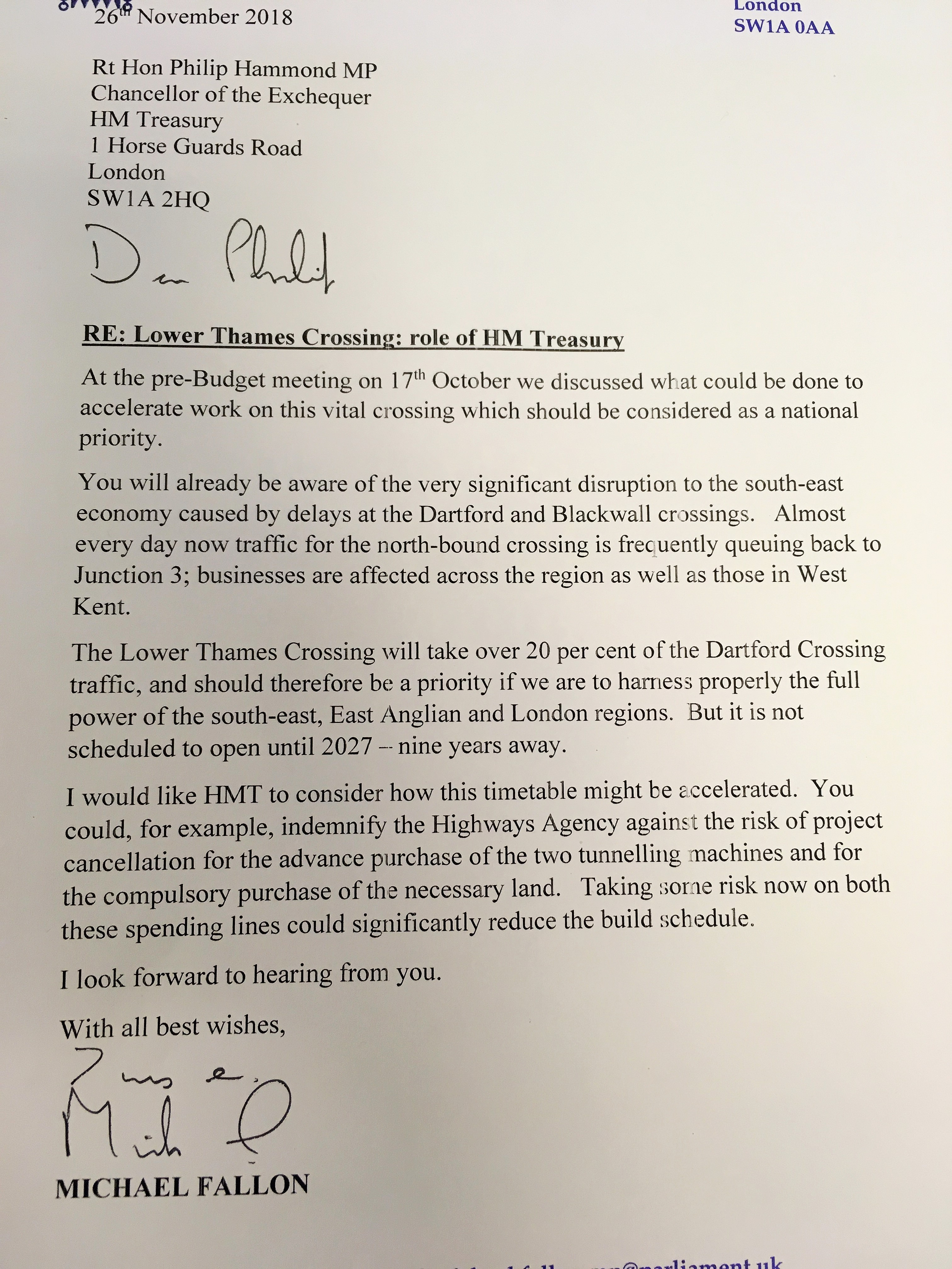 Lower Thames Crossing Letter to Chancellor